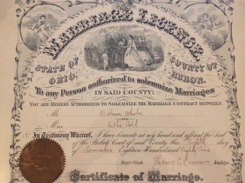Nellie CALL and William WHEELER Marriage License and Certificate, Huron County, Ohio, November 1889; top section.