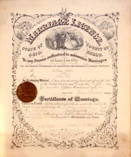 Nellie CALL and William WHEELER Marriage License and Certificate, Huron County, Ohio, November 1889.