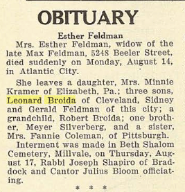 Esther (Silverberg) [Broida] Feldman- Obituary. The Jewish Criterion, Vol. 82, No. 15, Page 15, via Pittsburgh Jewish Newspapers Project with their kind permission.