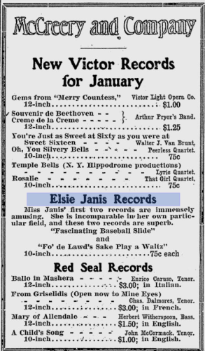 Add for new Elsie Janis records in 1912, published in The Gazette Times (Pittsburgh, PA), page 7, column 6, via Google Newspapers.