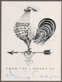 Bookplate of Irving Cooper, circa 1950s?