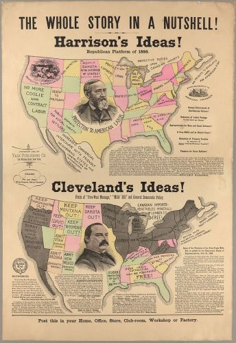 Grover Cleveland-Benjamin Harrison presidential (1888) campaign poster about the trade policy of the two candidates. The map supports the work of the Harrison campaign.