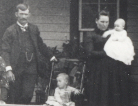 Family of John Roberts and Ella Viola (Daniel) Roberts, 1892, Jasper County, Iowa. Son George A. Roberts, Jr., is in stroller, and Ethel Gay Roberts is held by her mother. Their third child, Edith Mae Roberts, was not yet born.