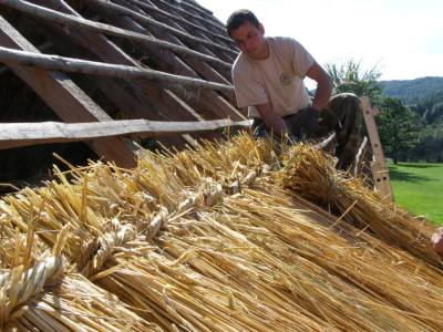 Traditional craftsmanship hay-thatching in Hungary (© Winehill Sheperd Organisation)