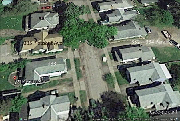 Satellite image of Pleasant Avenue, heart of Herkimer's drug trafficking trade.