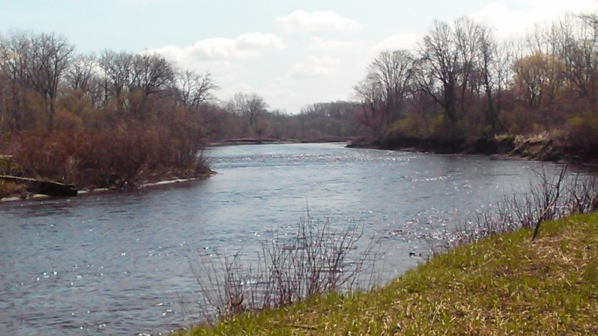 West Canada Creek Herkimer approaching confluence with Mohawk River after passing beneath the Herkimer Meth Bridge