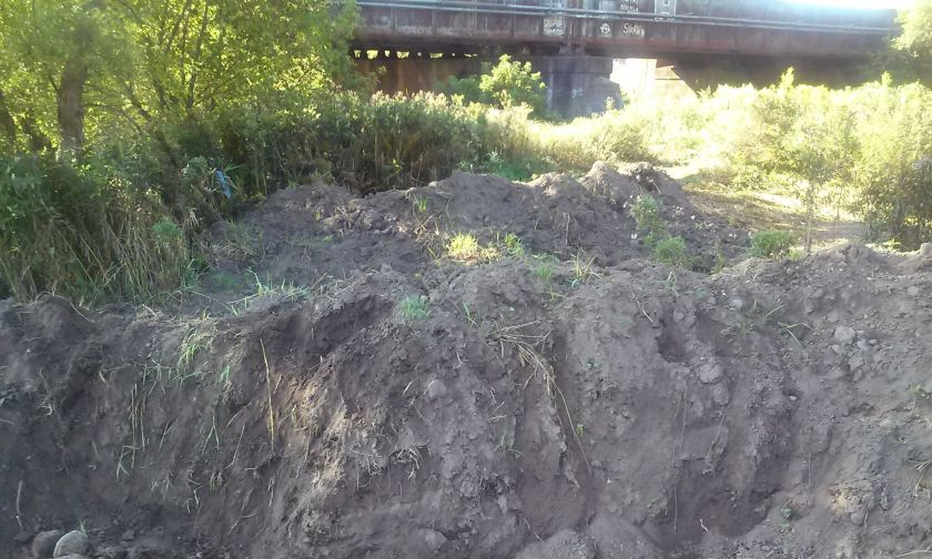 Earthworks restricting approach to Herkimer Meth Bridge