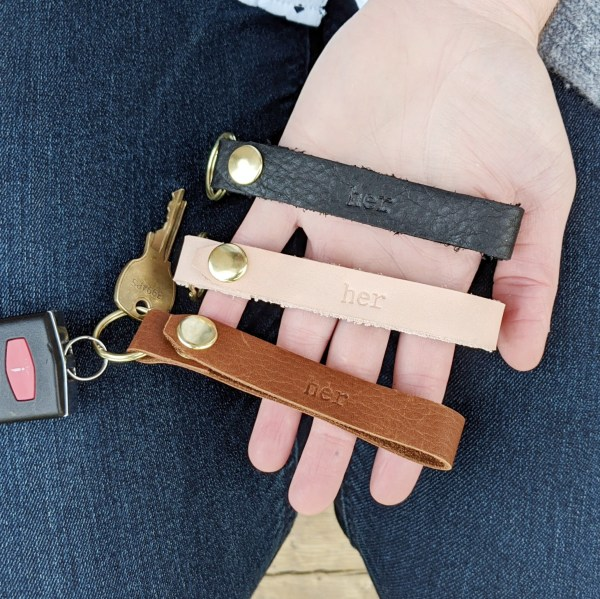 Leather Keyring made from reclaimed leather black chestnut natural