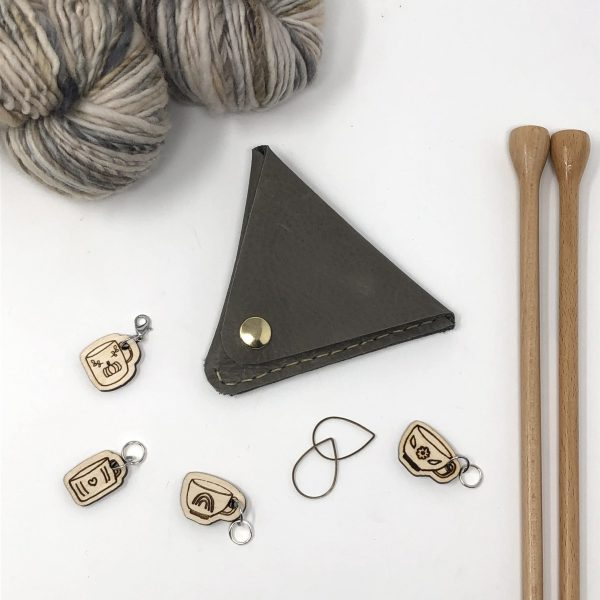 diy kit repurposed leather triangle pouch