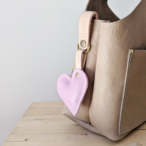 Oh My Heart Puffy Keyring in Pink on Beatrice Project bag
