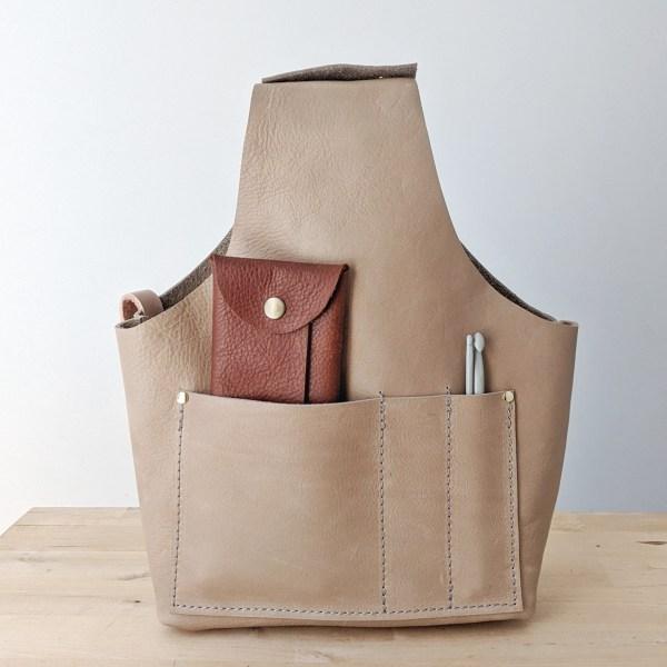 Beatrice Project Bag Pocket Front View Burlap