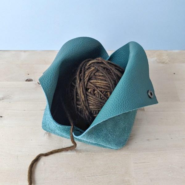 Leather Yarn Bowl Open Sage