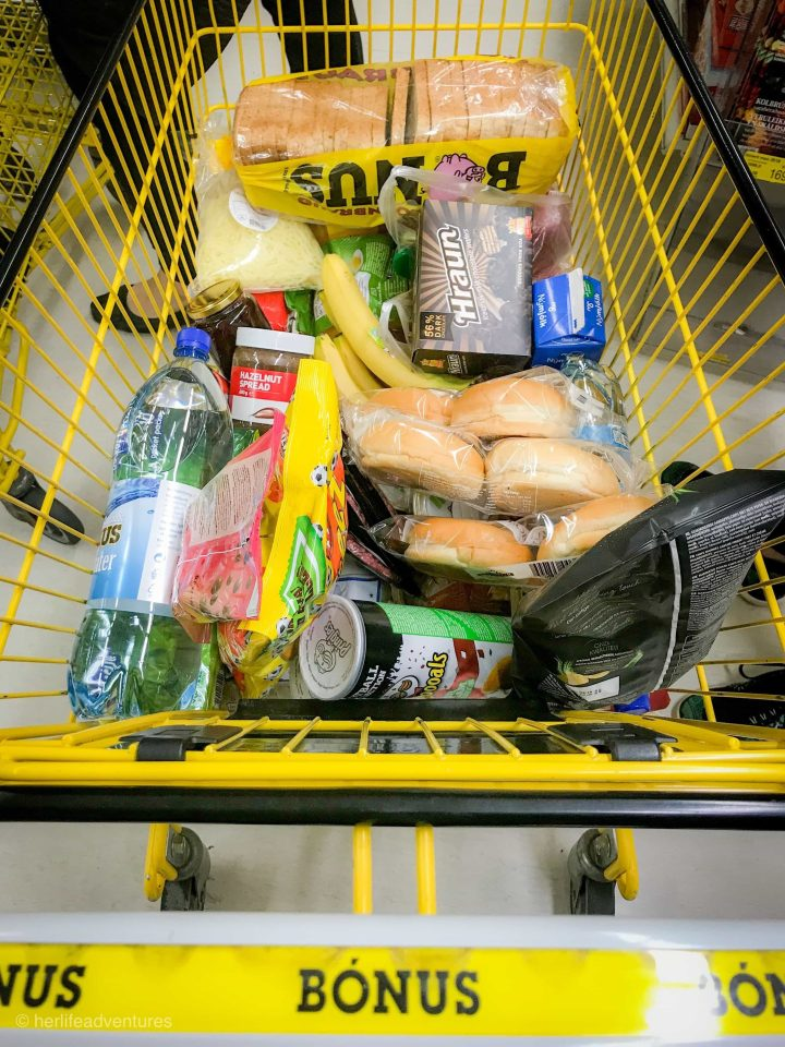 Grocery shopping in Iceland at BONUS is the more budget friendly option to eat in Iceland.