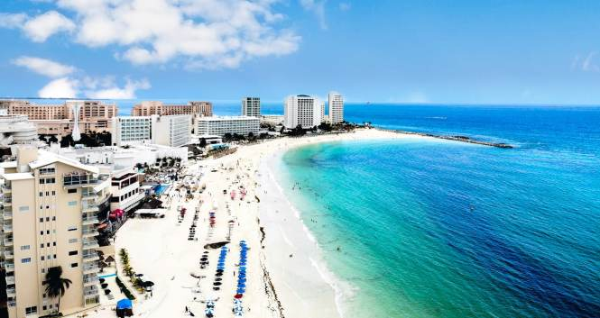 Drone aerial picture of Cancun Mexico