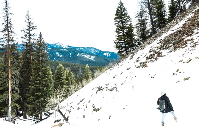 Winter Hiking in Montana, artful representation of depression through travel photos and experience.