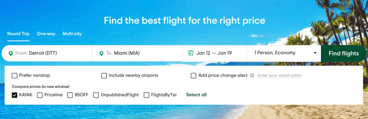 Flight rates to Miami Florida