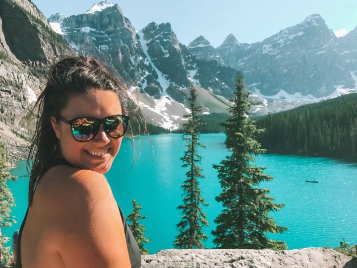 Moraine Lake in Banff National Park, Alberta Canada and more  Incredible photos to inspire your Canada National Park Adventure. Covering Jasper + Banff + Yoho | #traveldestinations #travelideas #northamericatravel #traveltips  #travelhacks #travelguide #adventuretravel #roadtrip #nationalpark #nationalparkroadtrip #alberta #canada #britishcolombia