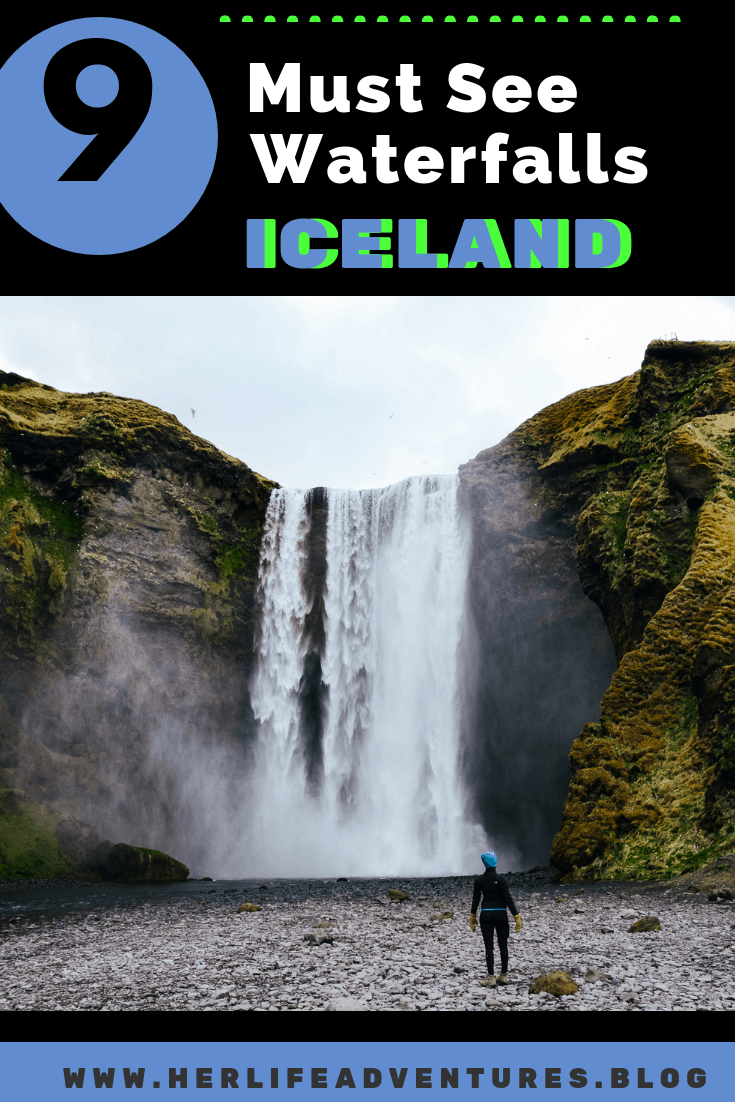 9 Must see waterfalls for your Iceland road trip around the ring road.  Hidden gems, cascading waterfalls and some of the most beautiful landscape I've ever seen. | herlifeadventures.blog |  #icelandtravel #hiddengem #icelandvacation #travelhacks #travelguide #adventuretravel #traveltips #europe #traveldestinations #travelexperience #waterfalls #iceland #beautifulplaces #adventure #explore