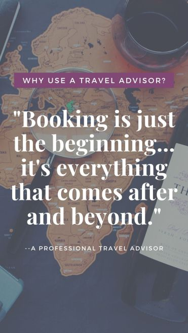 Travel Advisors do so much more than just booking your vacation. They will make sure you are prepared from the time you leave your home, until the time that you return. #travelagent #benefits #booking #savemoney