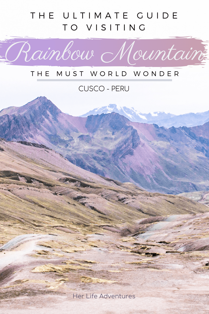 The rainbow mountains in Peru is one of the most beautiful places I've visited. The rainbow mountains photography I captured on our 1 day trek will inspire, and make it worth visiting the mountains. My itinerary provides what to wear, outfits, food, how to get there and more. | Her Life Adventures | #rainbow #mountains #peru #photography #outfit #beautiful #places #trek #travel #destinations #food #itinerary