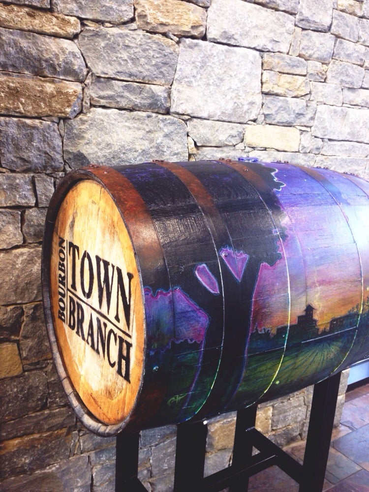 One of the decorated bourbon barrels at Town Branch