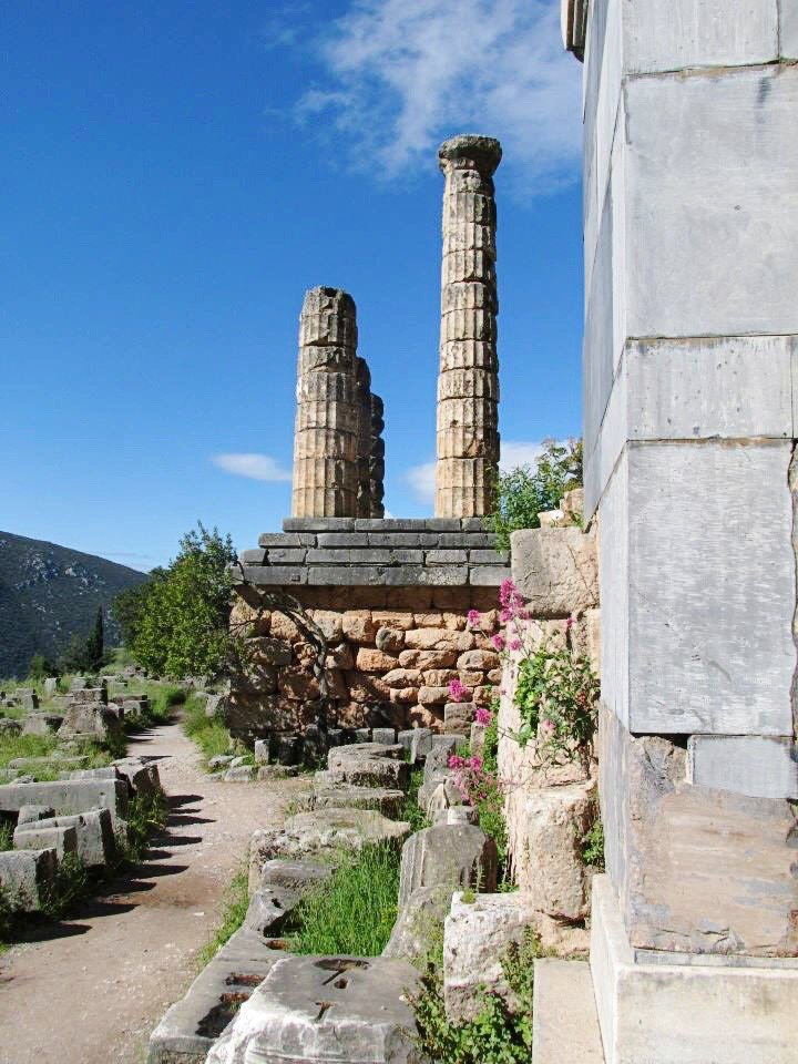 Columns that remain at the Temple of Apollo | Delphi: The Bellybutton of the Ancient World | www.herlifeinruins.com