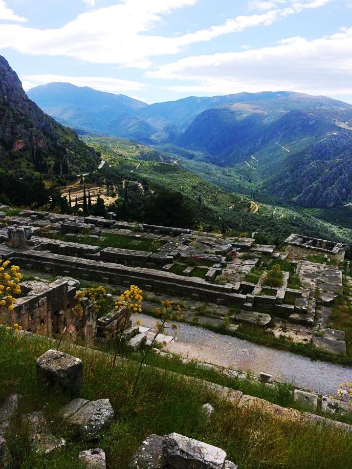 View of the Temple of Apollo from above | Delphi: The Bellybutton of the Ancient World | www.herlifeinruins.com