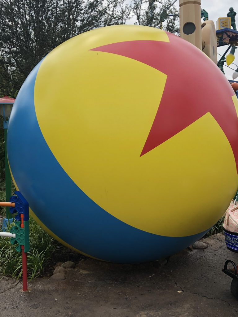 The Pixar Ball decoration in Toy Story Land