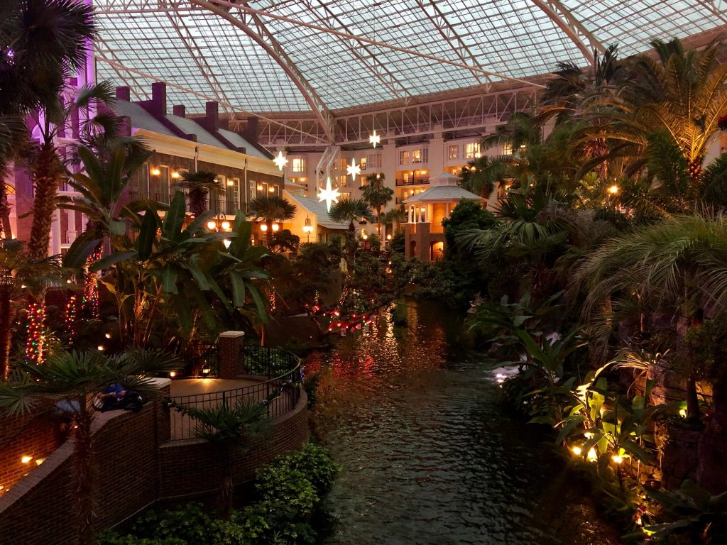 Christmas decorations in the Delta Atrium at Gaylord Opryland Resort