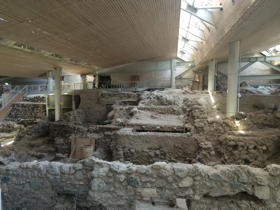 An above view of the archaeological site of Akrotiri in Santorini, Greece