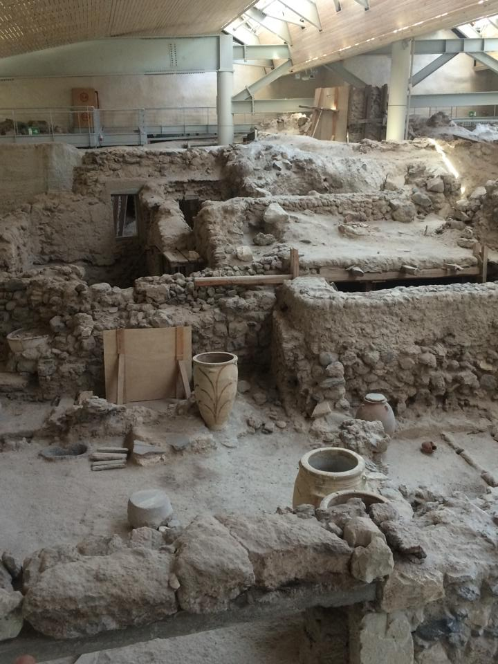 Pots, furniture, and other artifacts at the site of Akrotiri