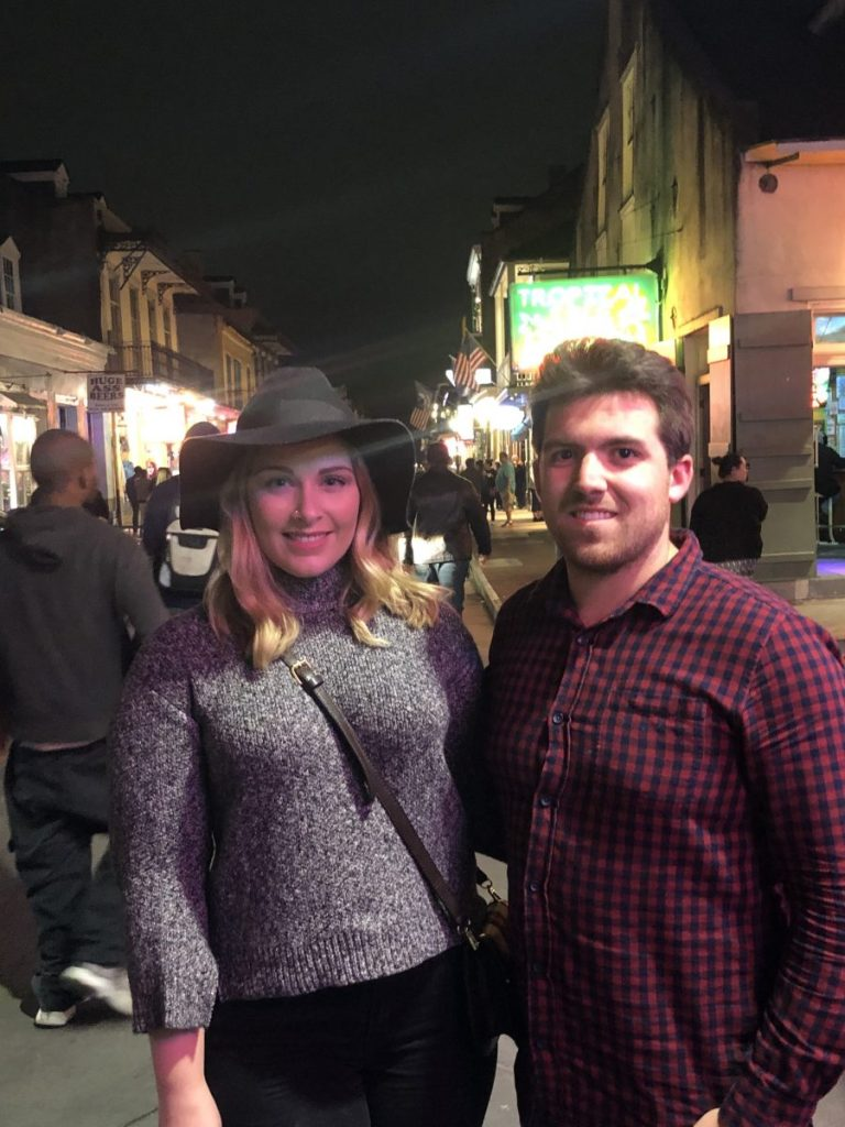 MarMar and her friend Ryan on Bourbon Street | Living the New Orleans Dream