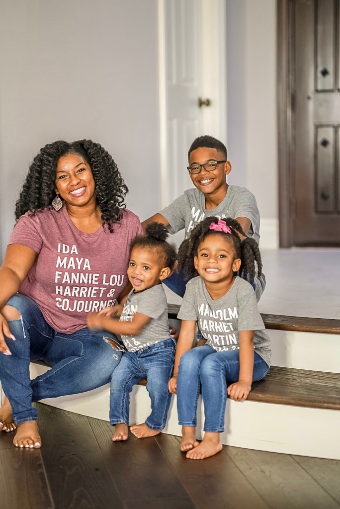 black mom photo shoot with her children