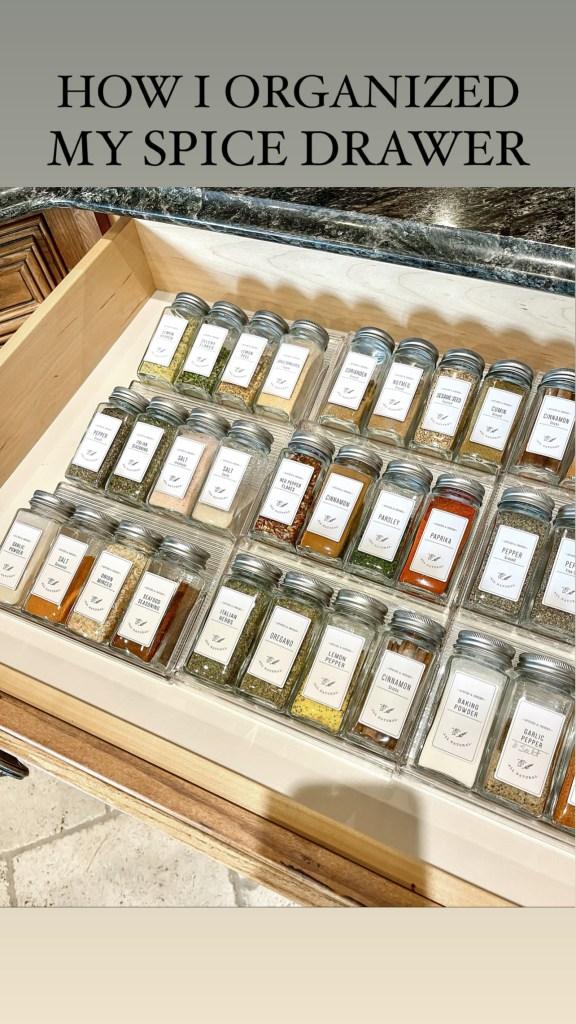 Spice drawer organizer used to organize kitchen spice drawer.