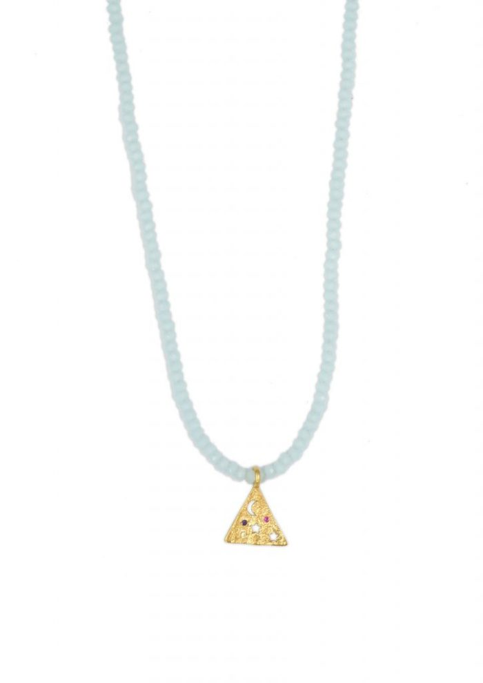 MELIES PYRAMIS TURQUOISE CRYSTAL NECKLACE STYLELOVE