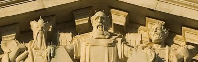 Confucius, Moses, Solon anchor the center of Justice theme.