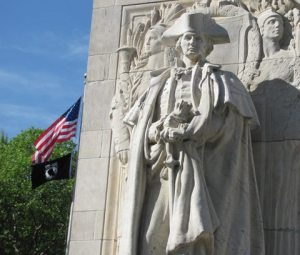 General George Washington with Flags (U.S. and POW/MIA) ~ Washington Arch Greenwich, NYC (Photo courtesy of: Gibson Shell - 2011)