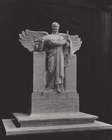 "A studio B&W photo of MacNeil's ""WWI Monument"" placed at Flushing, NY. This photo was found by John Gomez in a file of papers at a Manhattan flea market on June 9, 2012, nearly 87 years after the statue was made."