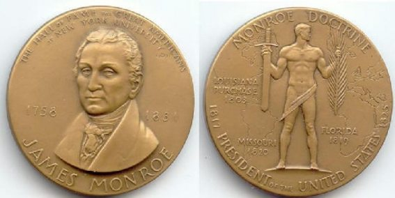 Hall of Fame Medallion by C. Paul Jennewein minted in 1968 commemorates Monroe statue being added to the Hall.