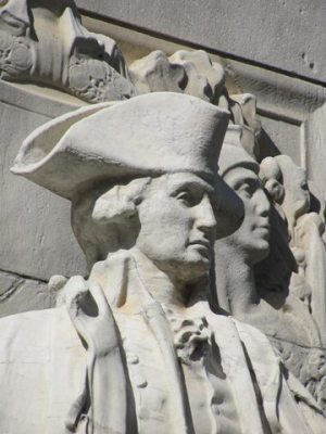 Behind the scenes MacNeil's likeness of General Washington guarded the rear flanks of the rally