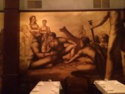 Wall mural of Lewis & Clark in a Portland hotel that houses Jakes Grill