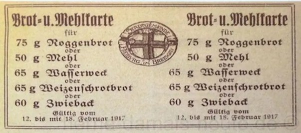 Brot- und Mehlbezugskarten, Februar 1917, Repro Norbert Kozicki