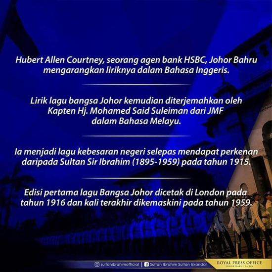 Fakta Lagu Bangsa Johor 2