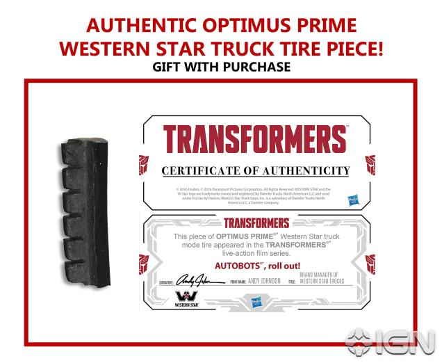 SDCC 2017 Transformers The Last Knight Voyager Class Optimus Prime Certificate