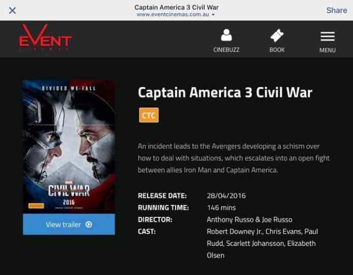 Captain America Civil War Runtime
