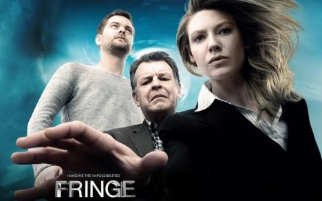 fringe poster com Peter Bishop, Walter e Olivia
