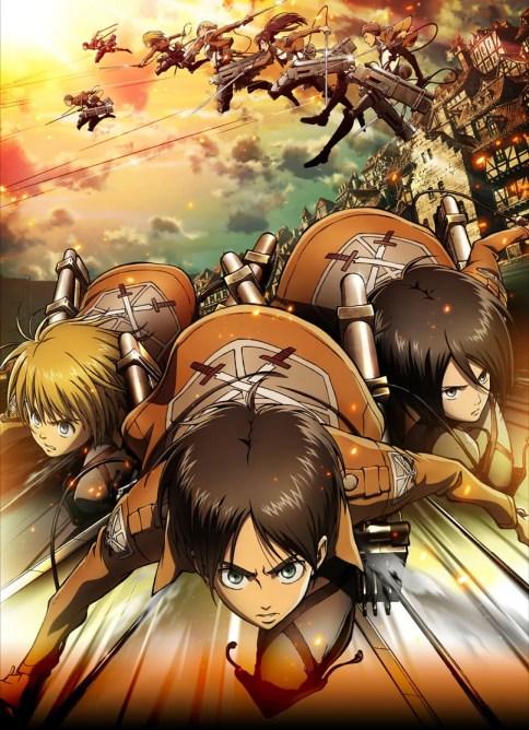 Shingeki no Kyojin trio principal usando o DMT na abertura