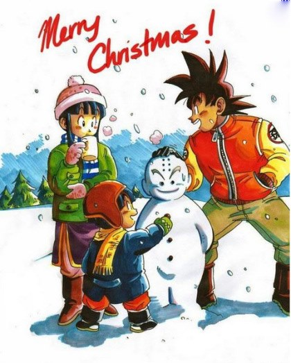 Goku Gohan e chichi no natal dragon ball z