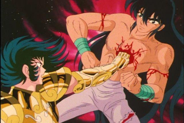Shiryu corta o braço de Shura Cavaleiros do zodíaco cenas censuradas
