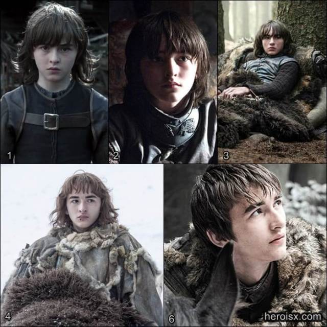 Bran Stark Temporadas 1 a 6 Game of Thrones antes e depois